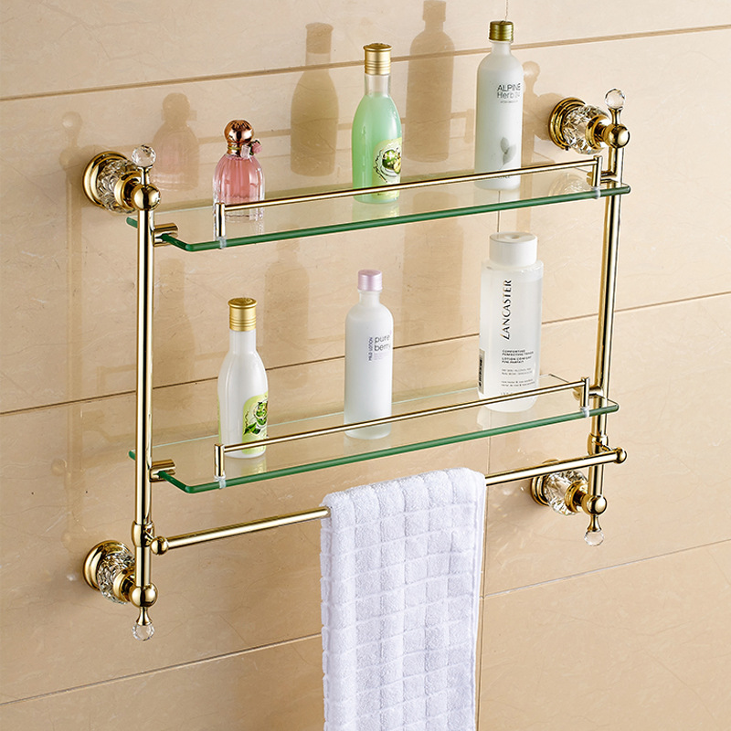 European Antique Bathroom Hardware Pendant Set Zinc-Alloy Eletroplate Gold Continental Gold Crystal Pendant Set Towel Rack continental gold product towel rack bar activities multi pole design