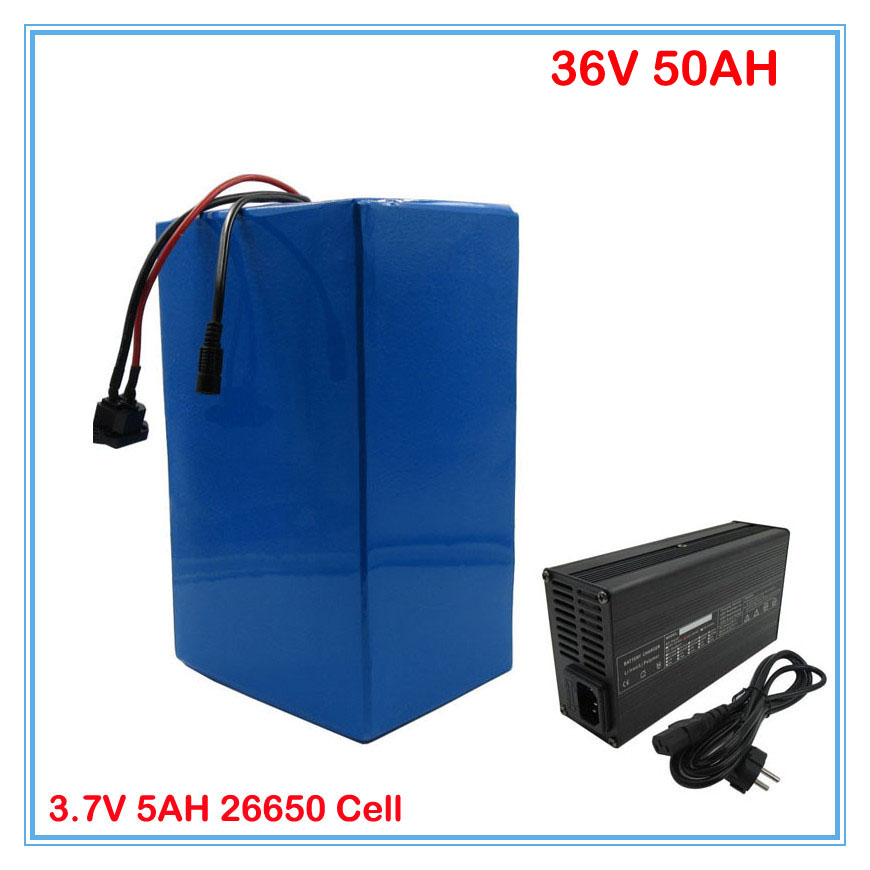 36V lithium battery pack 36V 50AH scooter battery 36V Ebike battery Use 3.7V 5AH 26650 cell 50A BMS 5A Charger free customs fee