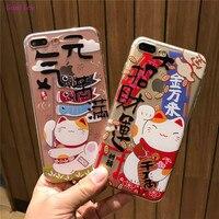 Gumiice telefon kılıfları iPhone 6 s Için Şanslı Kedi boyama şeffaf yumuşak tpu kapak kılıfları shell iPhone 7 7 artı ücretsiz nakliye