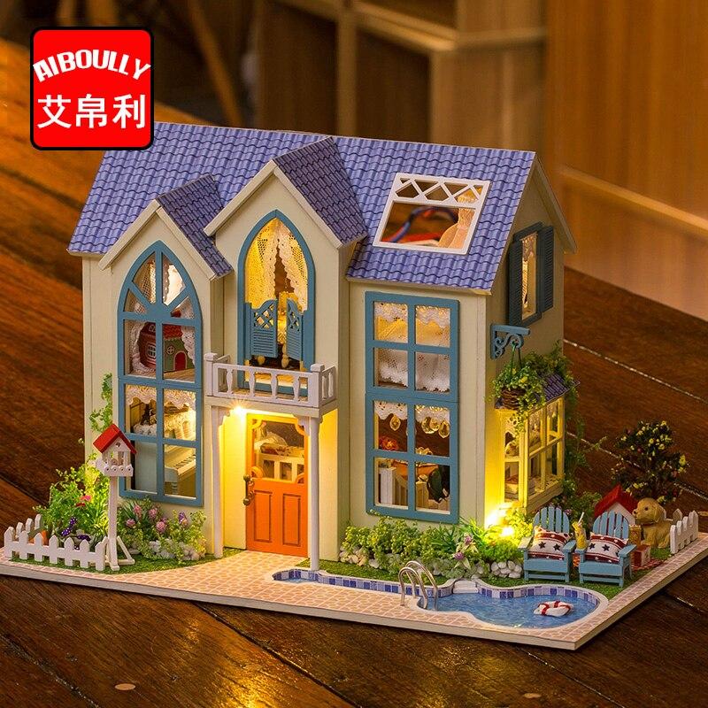 Садовый домик Миниатюрный Кукольный Дом DIY кукольный домик с мебелью деревянный дом Игрушечные лошадки для детей подарок на день рождения