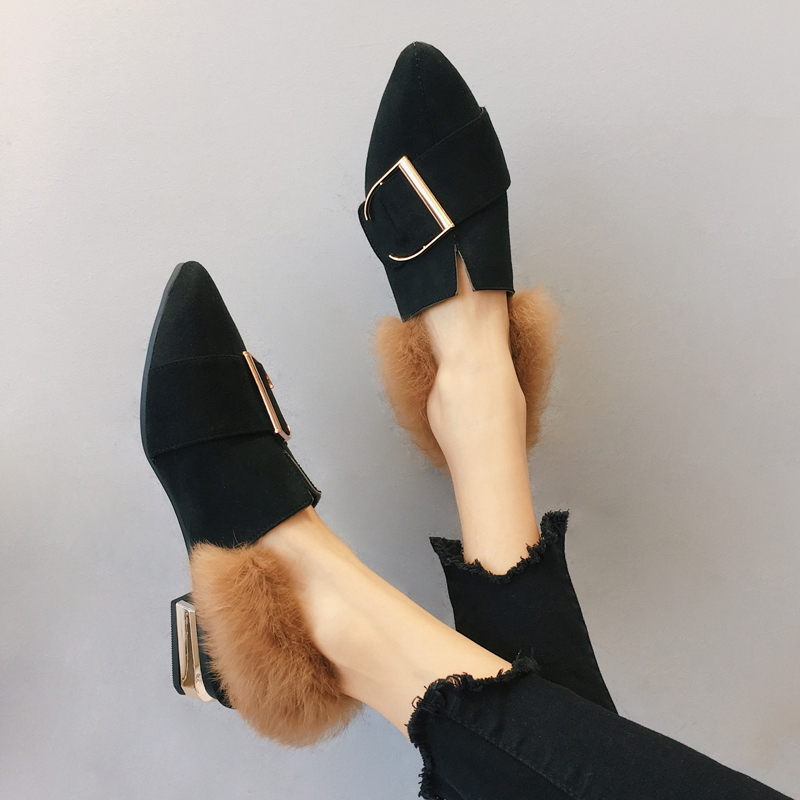 Single women shoes the new winter 2017 han edition pointed leisure joker thick with spring maomao shoes female students autumn s
