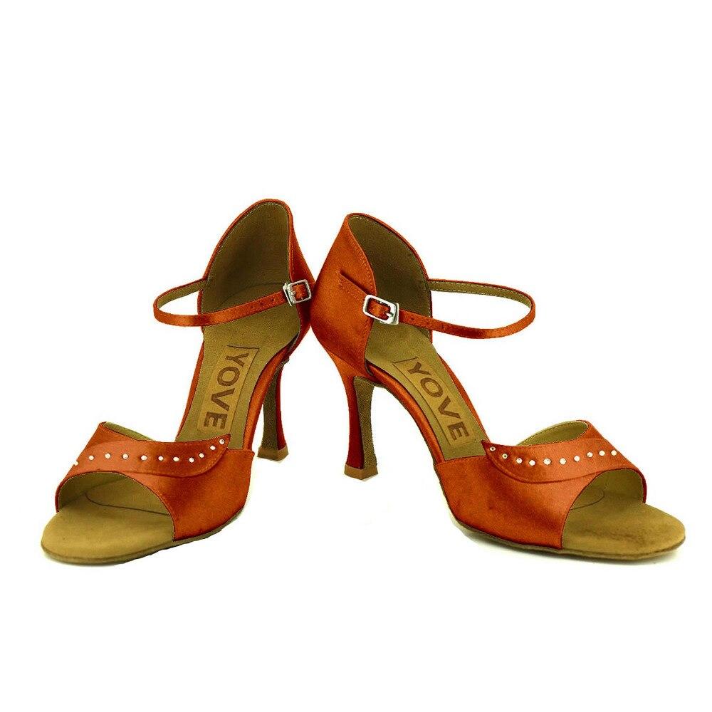 ФОТО YOVE Customizable Dance Shoes Satin Latin/Salsa Dance Shoes Women's Color Contrast Open Toe Vintage  3.5