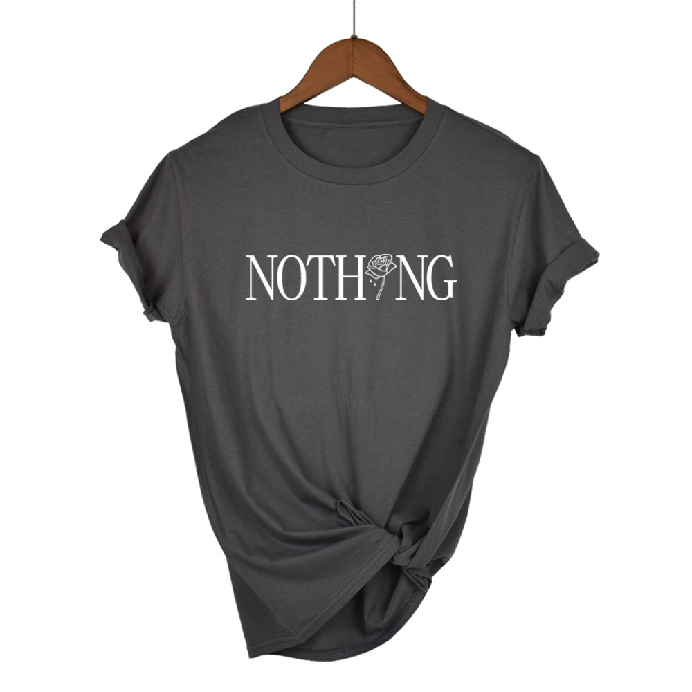 b6a27bd4d37473 Μπλούζες & μπλουζάκια Nothing Letter Rose Print Female T Shirt Harajuku T-Shirts  Women 2018 Summer Short Sleeve Casual Clothing Tee Tops pure cotton