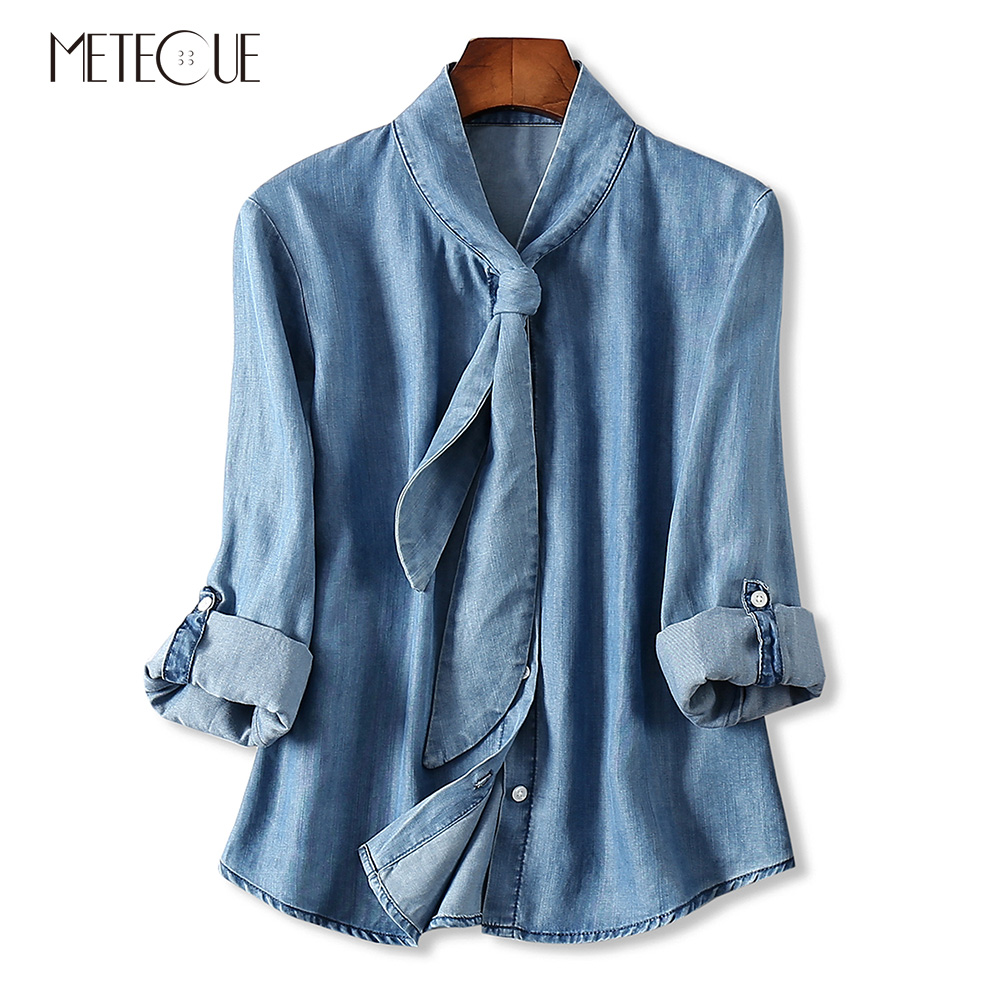 Casual Neckline Lace Up Foldable Long Sleeve Washed Denim Women Shirts Blouse Tencel Womens Tops And Blouses Spring Summer 2018 ruffle neckline and cuff blouse