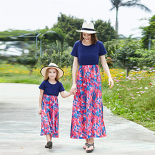 2019 Summer New Casual Mother Daughter Dresses Floral Kids For Girls Short Matching Outfits
