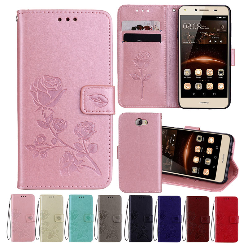 Leather Case For Huawei Y5 II Cases 2 Wallet Cover Flower Design Phone for
