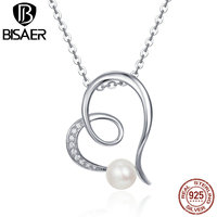 BISAER Elegant 925 Sterling Silver Glittering Heart Freshwater Pearl Pendant Necklaces For Women Luxury Fine Jewelry