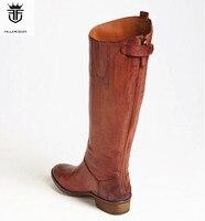 2019 FR. LANCELOT коричневые кожаные ботинки с высоким голенищем молния сзади для мужчин сапоги и ботинки для девочек крутые обувь мальчико