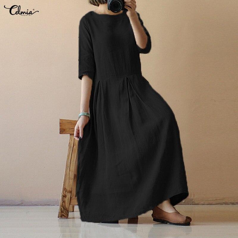 Vintage Women Linen Summer Dress 2018 Celmia Half Sleeve Solid Loose Long Dress Retro Casual Beach Vestido Robe Femme Plus Size