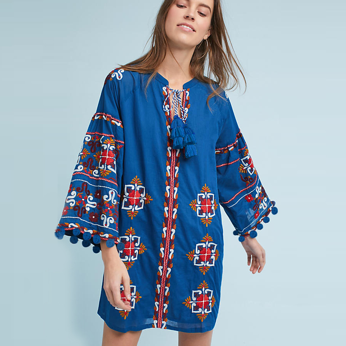 Jastie Palma Embroidered Tunic Dress V Neck Casual Boho Chic Mini Dresses Long Sleeve Spring Women