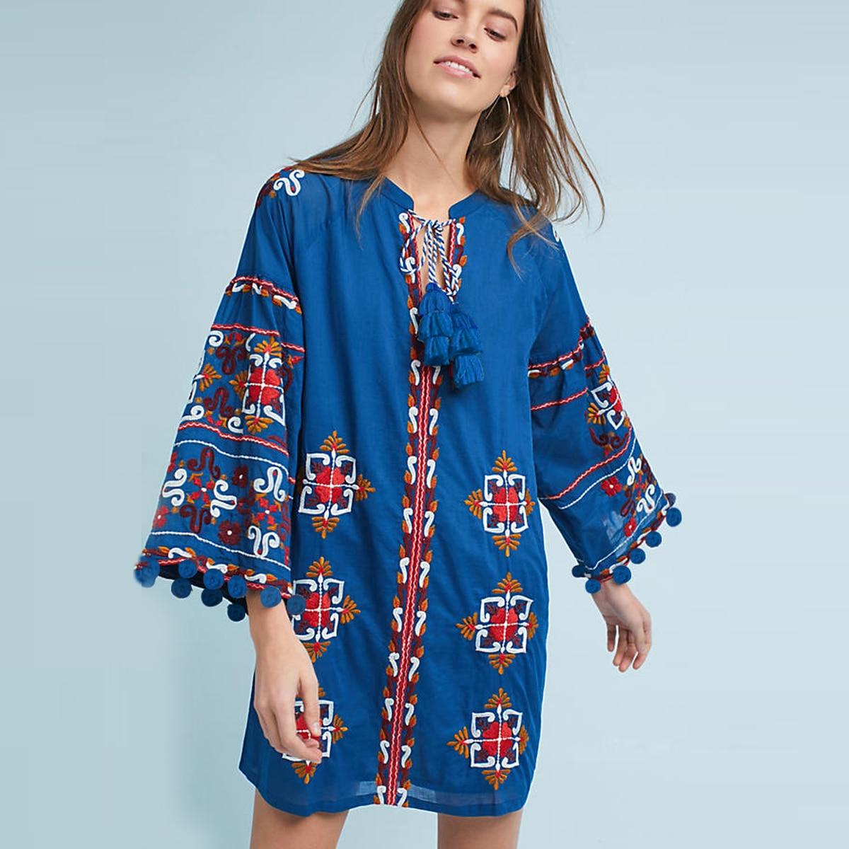 Jastie Palma Embroidered Tunic Dress V Neck Casual Boho Chic Mini Dresses Long Sleeve Spring Women Dress Pullover styling Dresse