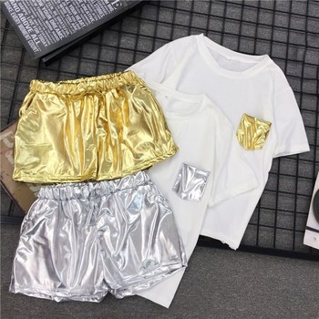 Women Hip Pop Style 2 Piece Set White T Shirt Elastic Waist Casual Shorts Solid Summer Tracksuits Sporting Outfits