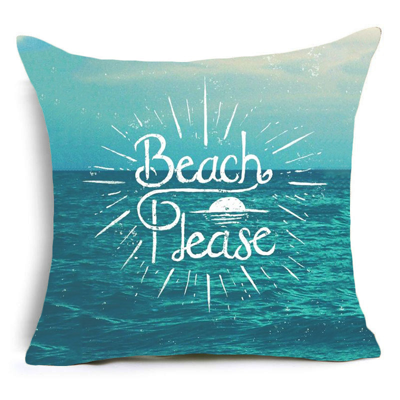 Ocean landscape Quotes Travel Cushion Covers Sofa Bed Waist Throw Pillow Case