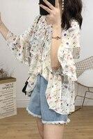 4XL Womens Shirts Ladies Blouses Print Chiffon Top Office Long Sleeve Blouse Plus Size Womens Clothing Beach Kimono