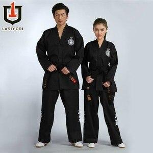 Image 2 - Совершенно новая черная полная стандартная одежда для тхэквондо, открытая передняя одежда для тхэквондо, черный пояс, униформа для каратэ