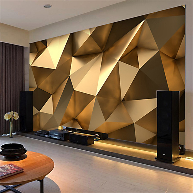 us $10 92 48% off custom photo wallpaper 3d stereo abstract space golden geometry mural modern art creative living room hotel study wall paper 3 d in