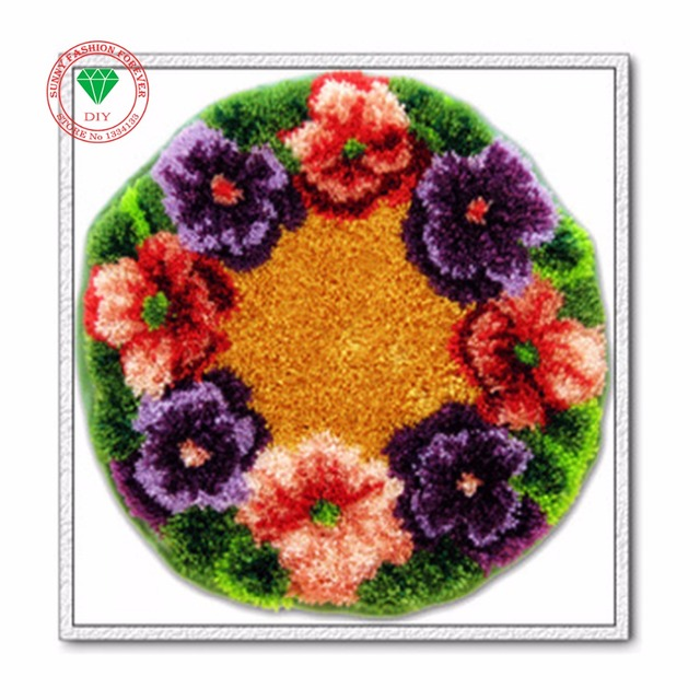 Needlework Latch Hook Rug Kits Flowers Carpet Kids Sets For Embroidery Sch Threads Cross