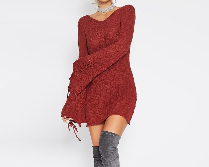 2017 Winter New European Style Women Fashion V Collar Long Flare Sleeve Cross Strap Solid Color Casual Knitted Dress Vestidos new winter women long style down cotton coat fashion hooded big fur collar casual costume plus size elegant outerwear okxgnz 818