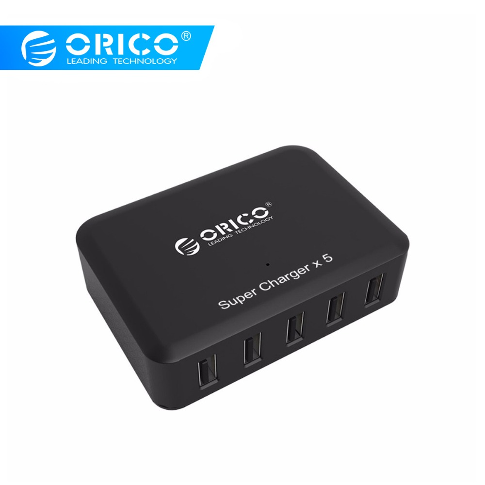 ORICO 5 Port USB Charger Portable Wall Desktop Smart USB Charger Fit för Samsung Xiaomi Huawei Tablet