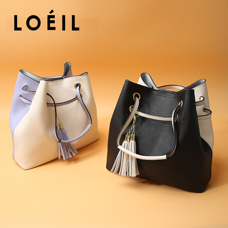 LOEIL leather bag female 2018 new shoulder bag mother bag casual big bag bag giulia monti bag
