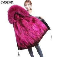 Модные зимние большой натуральной меховой воротник зимняя куртка Для женщин длинное пальто Для женщин пуховик с капюшоном Для женщин парки...