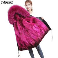 Fashion Winter Large Real Fur Collar Winter Jacket Women Long Coat Women Hooded Down Jacket Women Parkas Warm Female Outerwear