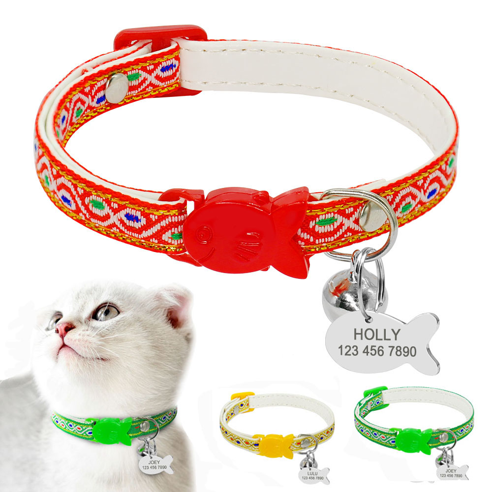 Quick Release Cat Dog Collar With Bell Personalized Kitten Cats Breakaway Safety Collars Cute Engraved Pet Dog ID Tag NamePlate