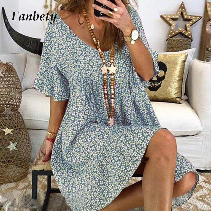 Fanbety Summer Women Holiday Beach Shirt Dress Sexy V Neck Boho Floral Print Flare Sleeve Dress Lady Party Mini Dress Plus Size