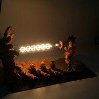 Dragon Ball Z Son Goku Action Figures Kamehameha Attack Anime Dragon Ball Z Goku Super Saiyan DBZ Led Lighting Model Toy