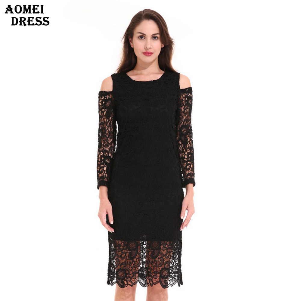 4f10dd5aacc3f3 Damen Vintage Schwarze Spitze Kleid Aushöhlen Sexy Oansatz Retro Roben  weibliche Elegante Dünne Kleider Kleider Sml