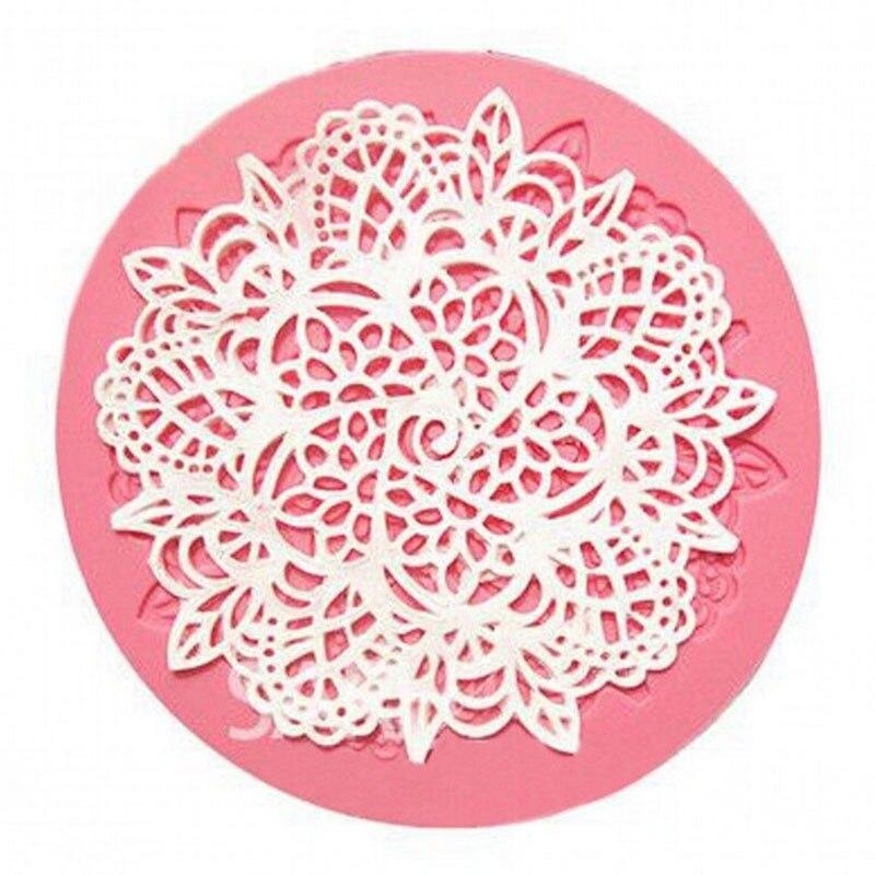 1 pçs forma de coroa redonda bolo de silicone esteira sugarcraft fondant bolo ferramentas de decoração cozinha cozimento moldes de renda de silicone
