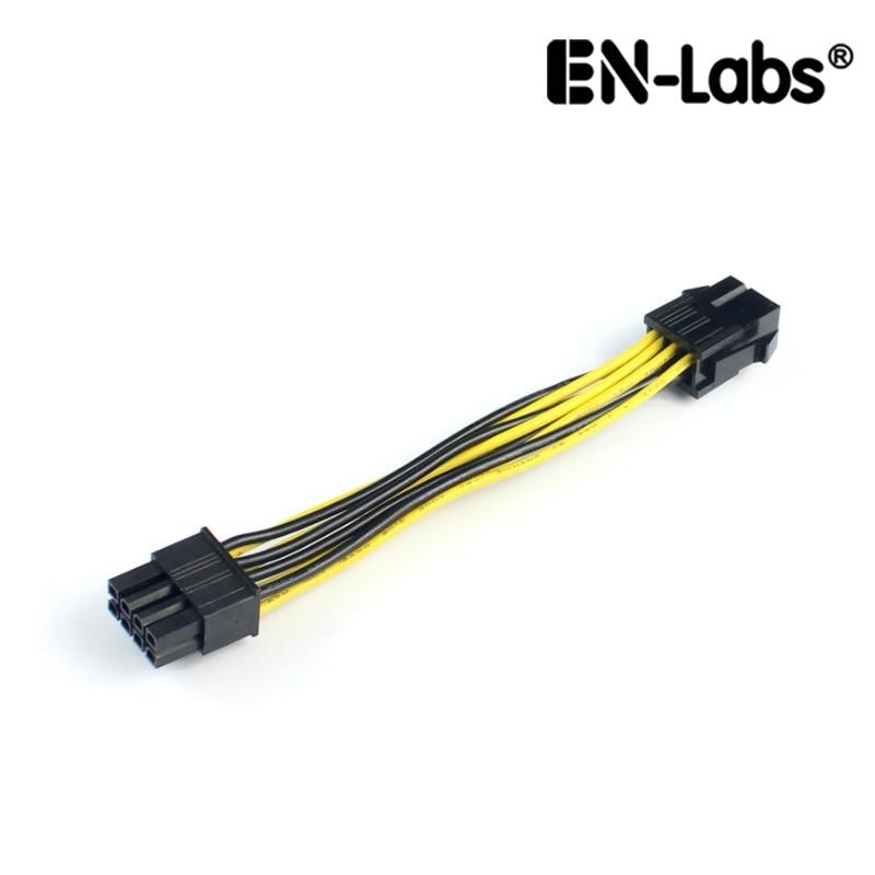 En labs adaptador de 10cm pcie 6pin para 8pin, pci e conversor fêmea de 6 pinos macho para 8 pinos, para placa de vídeo gpu pci express 8pin alimentado