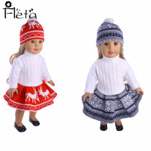 Fleta Doll 2019 Christmas New Sweater Skirt + Hat For 18-inch American Doll&43 Cm Accessories for Childrens Best Gift