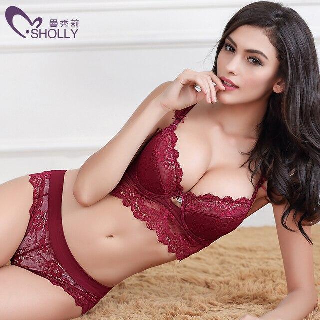 03ca47c214 New Brand Women bra set sexy Lace Embroidery bra brief sets intimate women  big cup brassiere