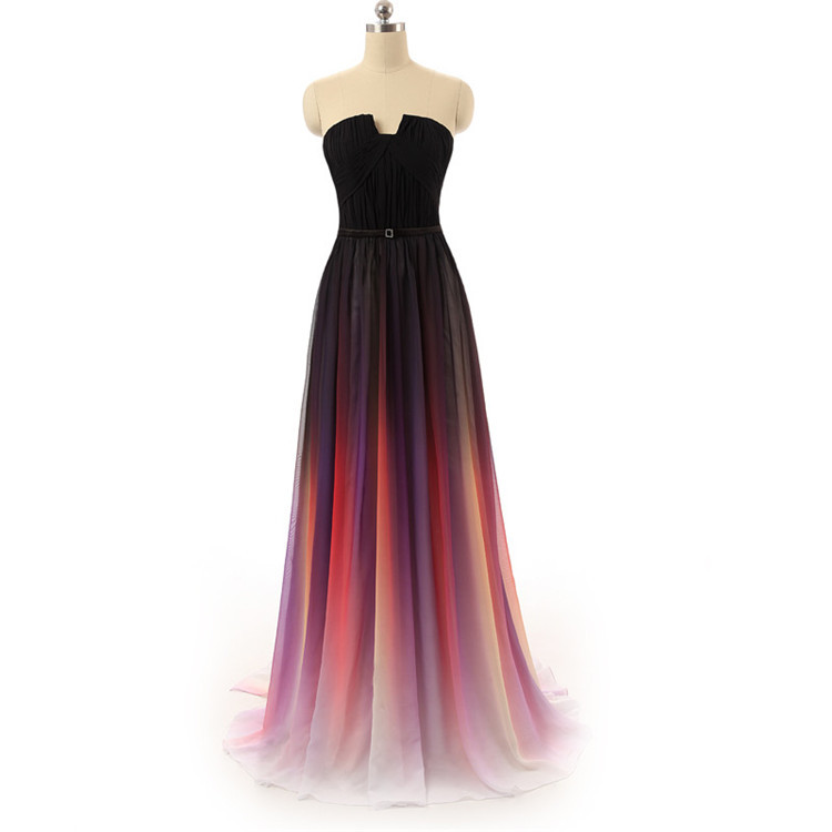 Gradient Ombre Prom Dresses Gradient Gala Dress Sexy Strapless Long Evening Gowns Rainbow Pleated Chiffon Vestidos De Formatura