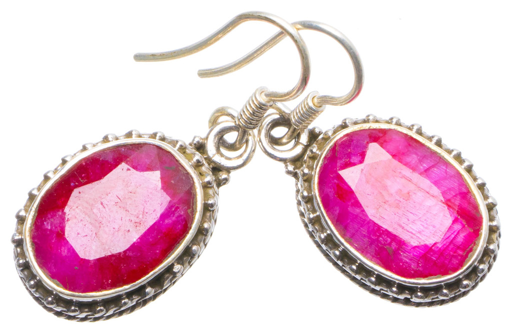 Natural Cherry Ruby Handmade Unique 925 Sterling Silver Earrings 1.25 X4897 цена