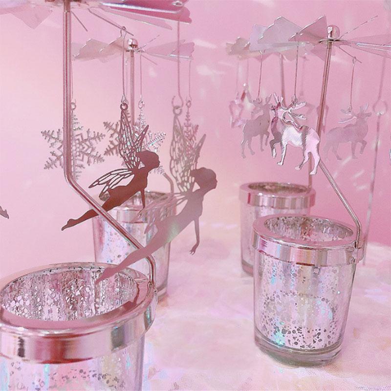 Cat Shape Romantic Rotation Candlestick Candle Holders DIY Table Desk Decor UK