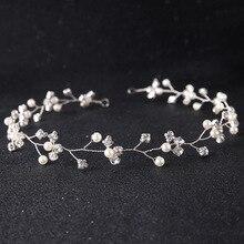 Dower me Simple Silver Rhinestone Wedding Headband Tiara Pearls Bridal Hair Jewelry Vine Women Hair Accessories