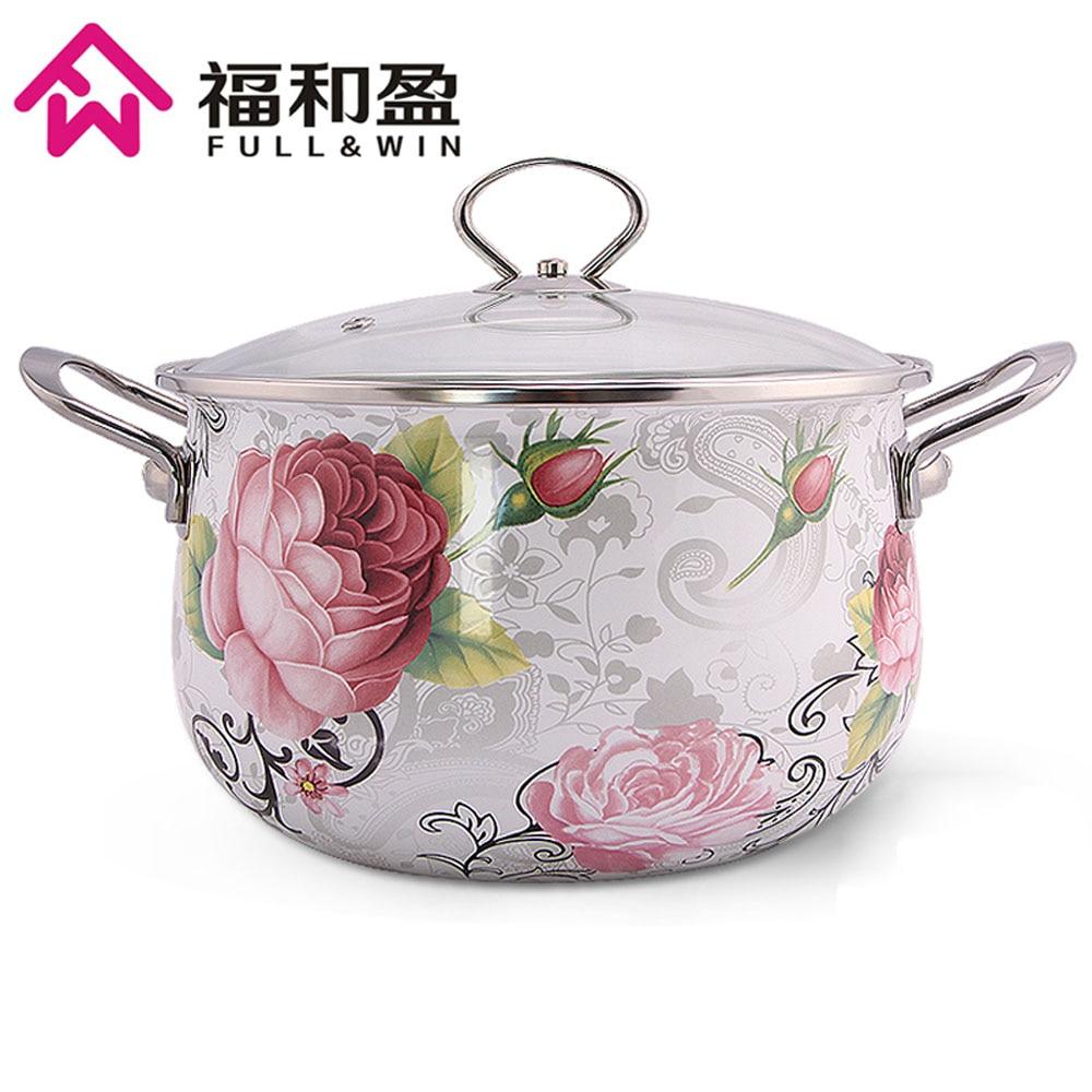 Dia 24cm Multi Purpose Soup Pot Enamel Pot With Toughened Glass Cover Kitchen Pot For Gas