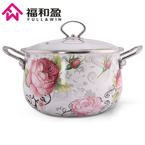 Dia 24cm Multi Purpose Soup Pot Enamel Pot With Toughened Glass Cover Kitchen Pot For Gas And Induction Cooker
