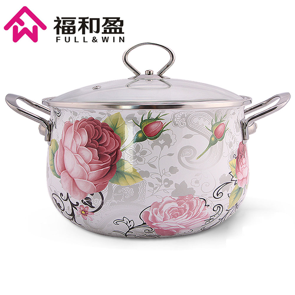 Dia 24cm Pot à soupe multi usages en émail avec couvercle en verre trempé Pot de cuisine pour cuisinière à gaz et à Induction-in Marmites et soupières from Maison & Animalerie    1