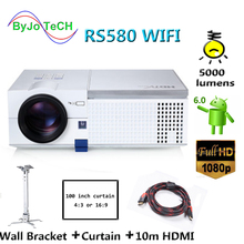 ByJoTeCH RS580 WIFI 5000 lumens HD LED projector 1080P Android 6.0 With 10m HDMI Curtain Wall Bracket Proyector