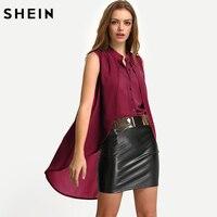 SHEIN Blusa casual-elegante de color rojo de gasa a capas,Top retro elegante para las mujeres de moda de otoño de 2017, Top sin manga para las señoras de la oficina