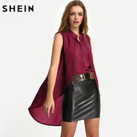 SHEIN Summer V Neck Layered High Low Blouses Ladies New Arrival Tops Sleeveless Plain Casual Chiffon