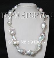free shipping >>>Wonderful natural 33mm Baroque white Reborn Keshi pearls necklace
