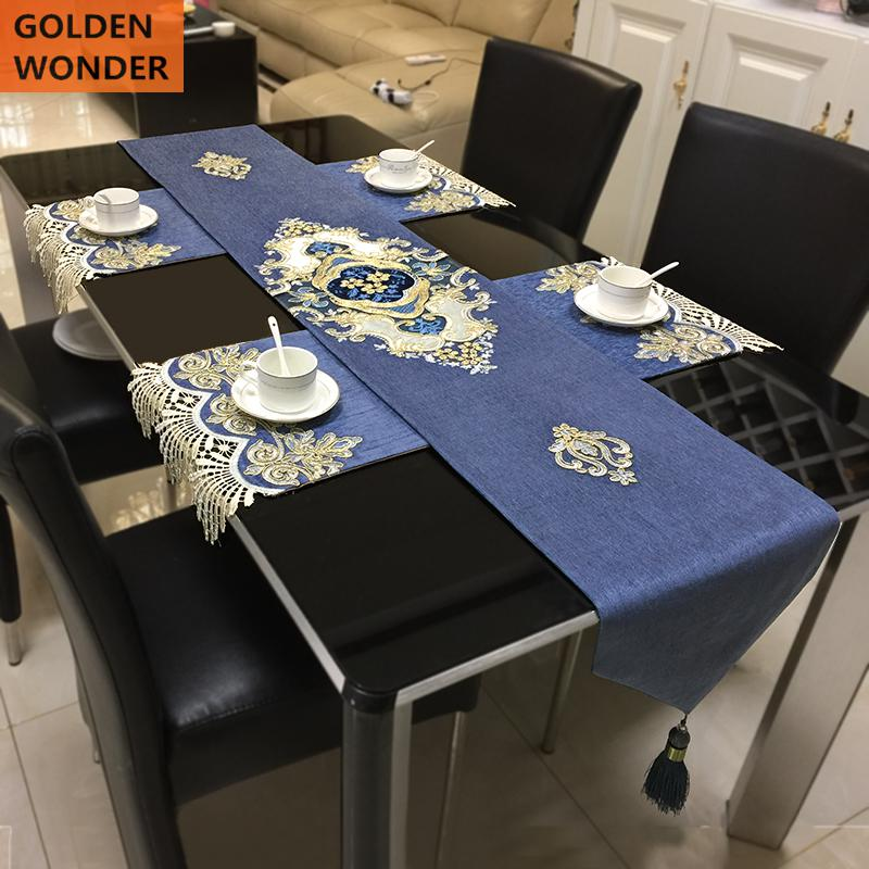 Modern Customized Simple Table Runner Bed Elegant Runners Mats Blue Chinese Lace