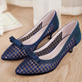 2017 summer female pointed toe low heel thin heels shoes lace gauze cutout breathable women pumps