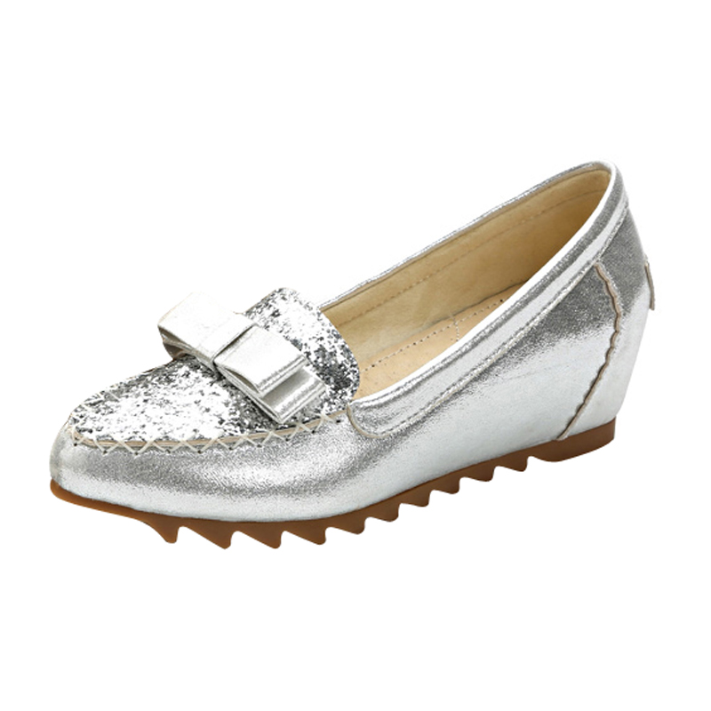 dbf329ce4a01 HEE GRAND Silver Glitter Creeper 2018 New Loafers Platform Shoes Woman Slip  On Flats Fashion Soft Women Shoes XWD6411