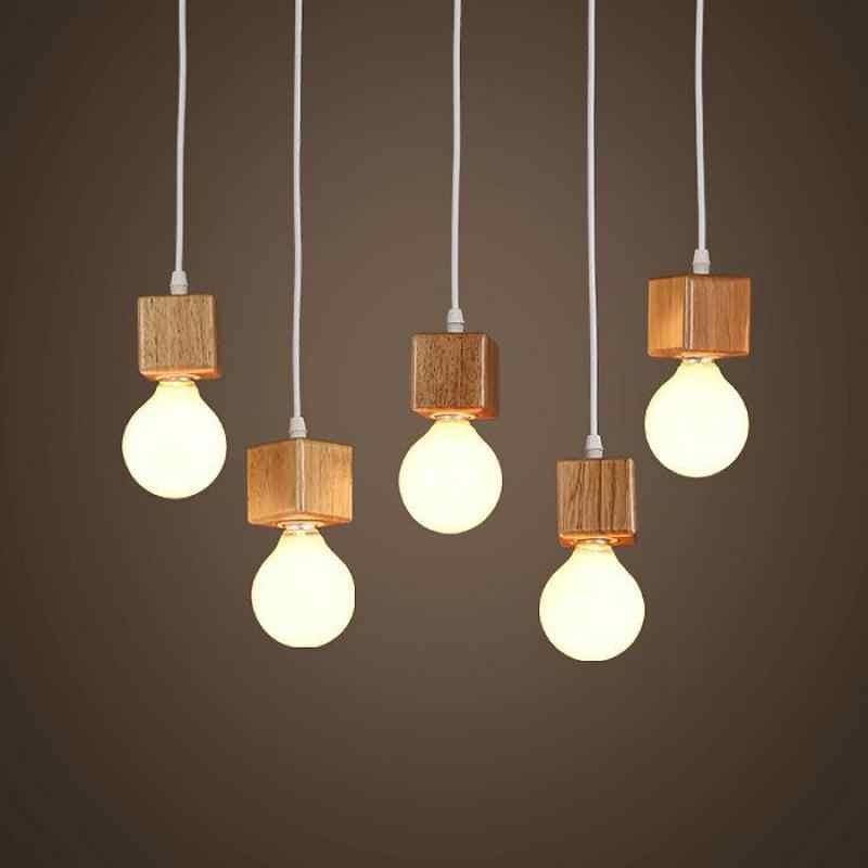 Kayu Solid Modern Pendant Light Ruang Tamu Makan Bola Kayu Kayu Lampu Lustres E Pendentes Loft Light