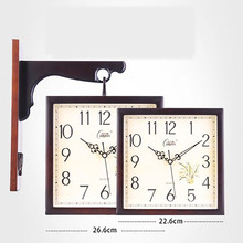 Купить с кэшбэком Solid Wood Clock Double Sided Wall Clock Nordic Modern Mechanism Silent Guess Women Watches Home Decor Kitchen Living Room 5Q335